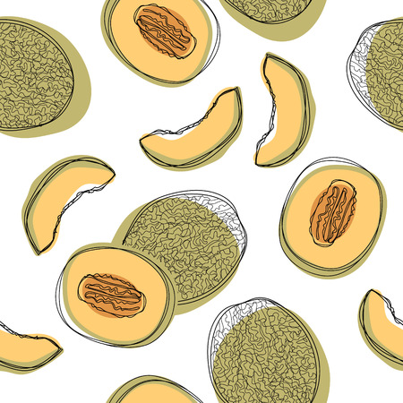 Seamless pattern with sliced japanese melons, orange melon or cantaloupe melon isolated on white background. Vector illustration Illustration