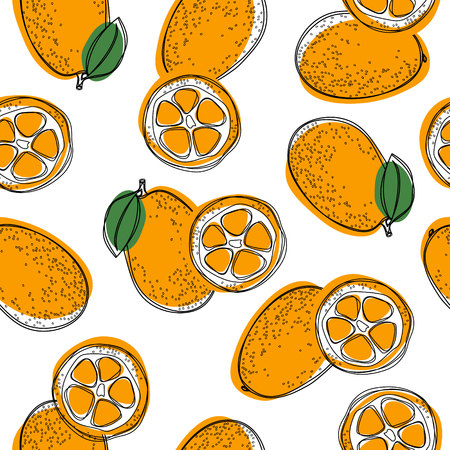 Seamless pattern with cumquat or kumquat with leaf. Vector illustration on white isolated background.