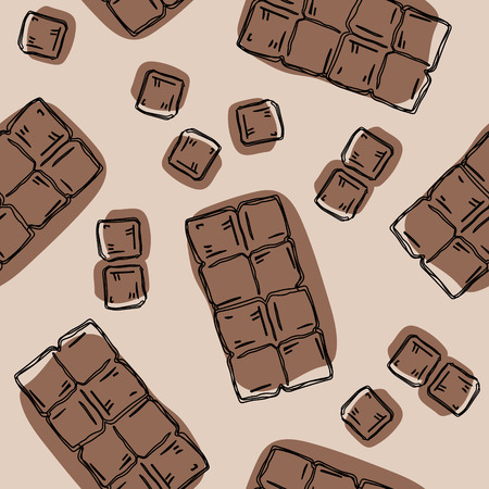 Seamless background with a pattern of hand drawn pieces of chocolate
