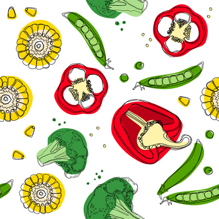 Vegetables mix seamless pattern. Corn, pepper, broccoli, pea.