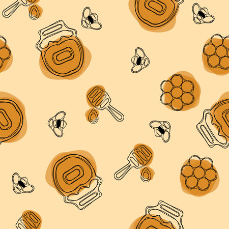 Vector seamless pattern. Beekeeping product. Included bee, honey, dipper, honeycomb, beehive and flower on olive background. 일러스트