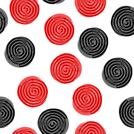 Seamless pattern with liquorice candy wheels isolated on white background