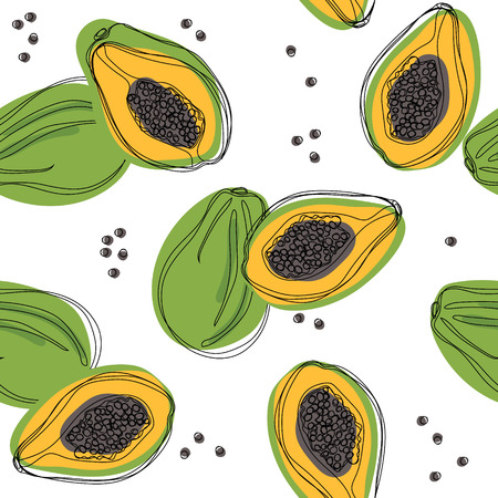 Seamless pattern with papaya. Hand drawn vector illustration.