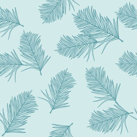Seamless pattern with tropical palm leaves, light blue background. Jungle foliage illustration. Exotic plants. Summer beach floral design. Paradise nature