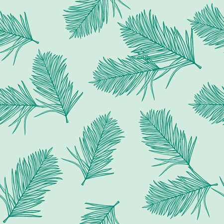 Palm pattern wallpaper of tropical dark green leaves of palm on a light green background