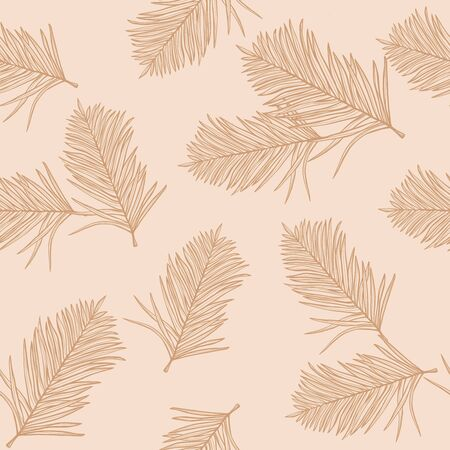 Autumn design. Trendy seamless pattern with l leaves  on a pastel background. Jungle print. Floral background. Printing and textiles. Exotic tropics.