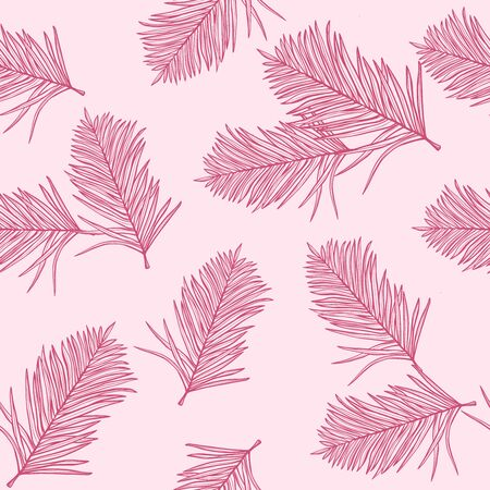 Floral background with tropical fashion pink palm leaves, jungle leaf seamless pattern