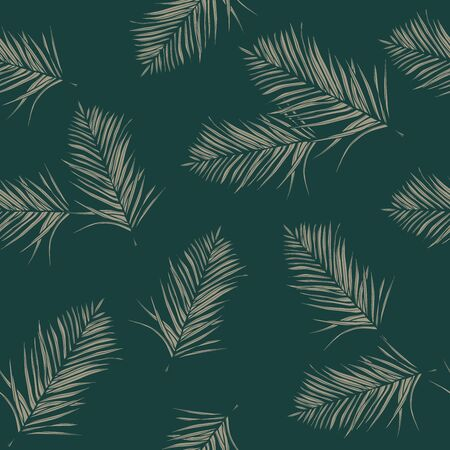 Seamless pattern with abstract leaves on green background