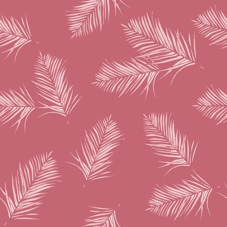 Glamoured, pink tropical leaves. Seamless graphic design with amazing palms. Fashion, interior, wrapping, packaging suitable. Realistic palm leaves 일러스트