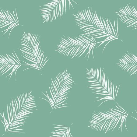 Floral seamless pattern, green and white split-leaf. Tropical plant with vines on green background, pastel vintage theme 矢量图像
