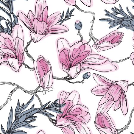 Magnolia background. Spring flowers. Seamless pattern with flawers. Vintage illustration. Blooming tree.