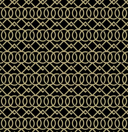 Abstract geometric pattern with lines and circles. Black and gold texture. Seamless background.