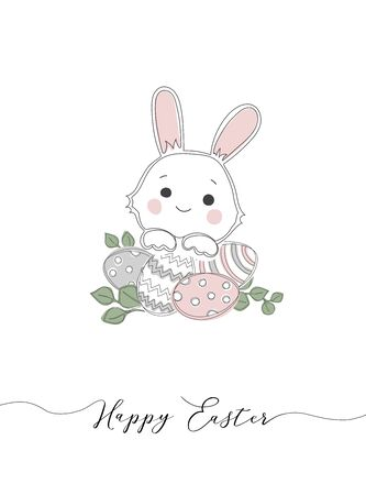 Happy Easter hand sketched card, typography. Lettering Happy Easter with rabbit for greeting card, invitation template.