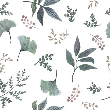 Vector watercolor seamless pattern. Botanical background with green leaves, branches and herbs. Floral Design elements. Perfect for invitations, cards, textiles, packing, fabric