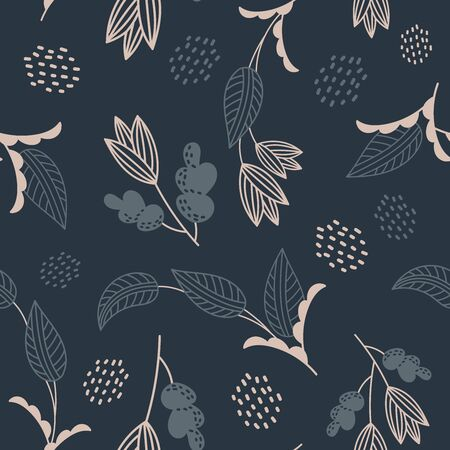 Dark blue flowers and plants  pattern
