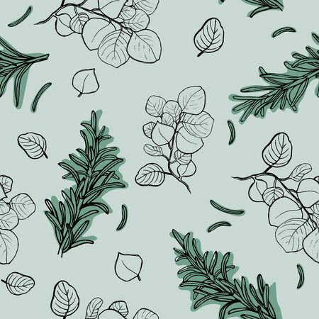 Vector hand drawn seamless pattern. Botanical background with green leaves, branches and herbs. Floral Design elements. Perfect for invitations, cards, textiles, packing, fabric
