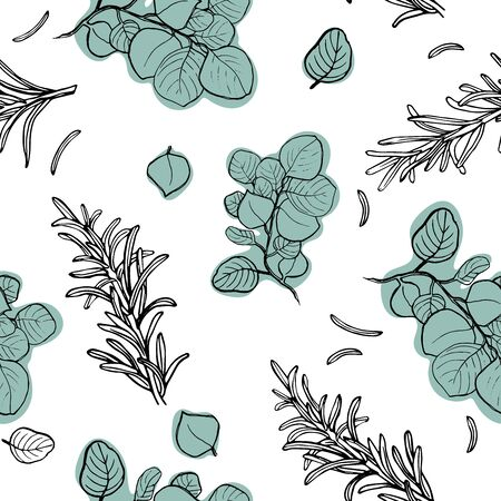 Hand drawn seamless pattern with eucalyptus and rosemary branches