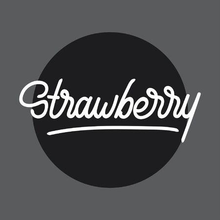 Strawberry handlettering typography Ilustracja