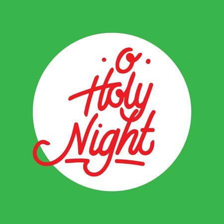 Holy Night hand lettering typography Ilustração
