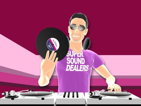 3D toon rendered dj with turntables Stock Photo