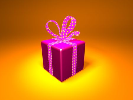 3D wrapped gift Stock Photo