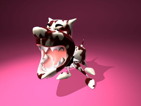 3D generated agressive dog photo