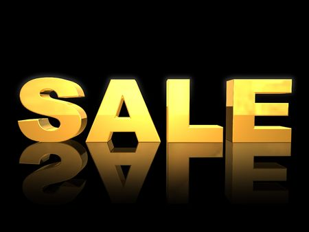 3D golden SALE letters
