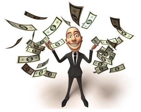 coupe de cheveux homme: Fun homme d'affaires avec de l'argent