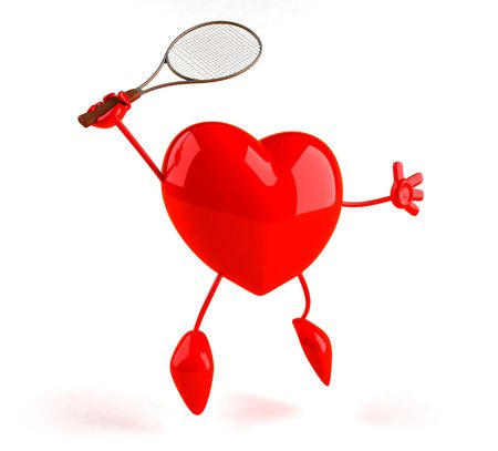 Heart playing tennis