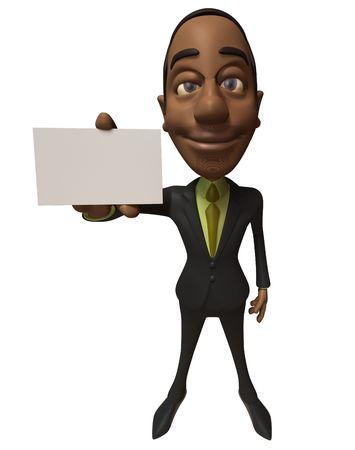 black business man: Black Business man avec un signe blanc