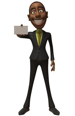 black business man: Noir homme d'affaires avec un signe blanc Banque d'images