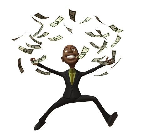 Black Business man with dollars photo