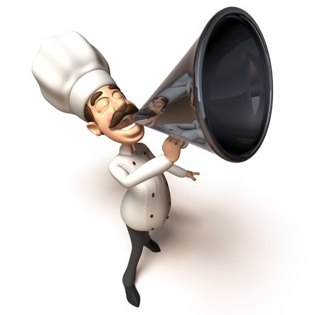 Chef with a megaphone