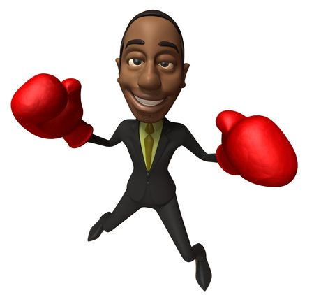 Black Business man fighting Stock Photo - 3981858