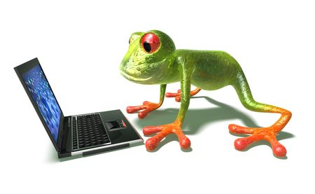 slimy: Frog with a laptop Stock Photo