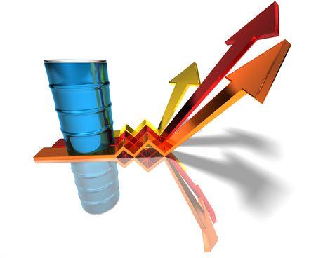 Prijs van olie gaat omhoog Stockfoto