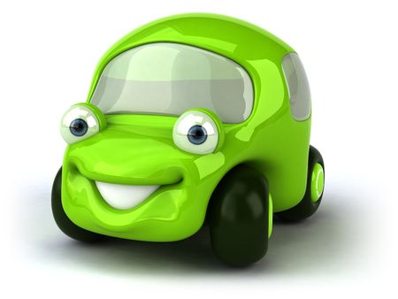 cartoon land: Green car