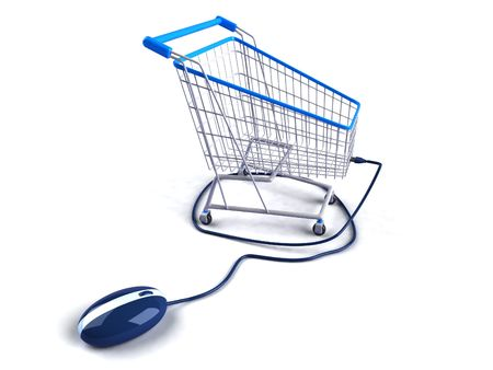chrome cart: Shopping online Stock Photo