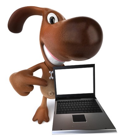 dog ear: Dog with a laptop