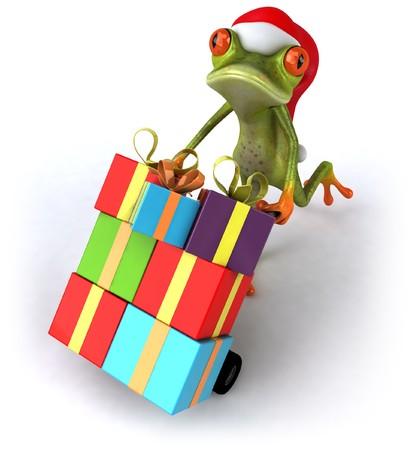 christmas frog: Santa frog