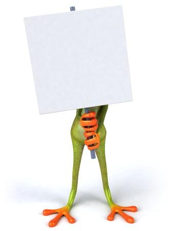 Frosch mit einem leeren Zeichen Standard-Bild - 4012661
