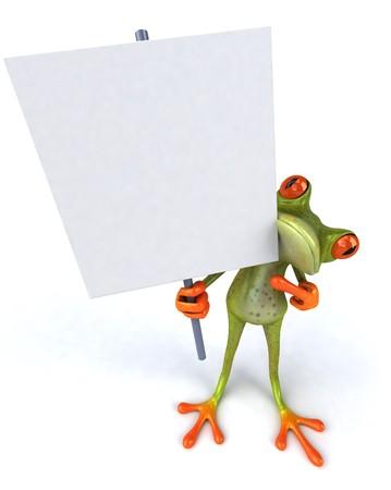 Kikker met een blanco teken Stockfoto