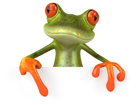 frog illustration: Frog with a blank sign Stock Photo