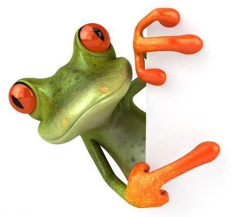 Frog with a blank sign Stock Photo