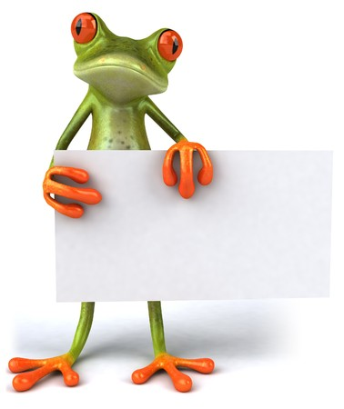 Frog with a blank sign Foto de archivo
