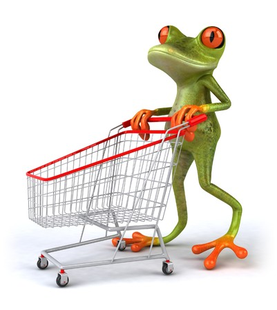 frog illustration: Shopping frog