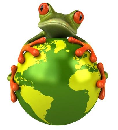 grenouille: Frog avec le monde