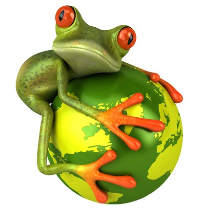 frog illustration: Frog with the world