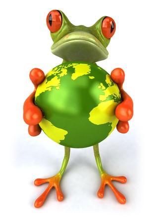 Frog with the world 版權商用圖片 - 4012850