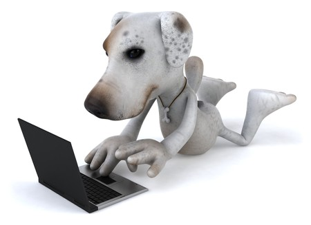 Fun dog with a laptop Stok Fotoğraf - 4012742
